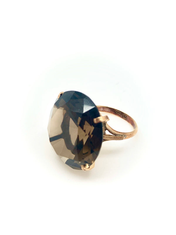 BAGUE OR QUARTZ FUME ROND