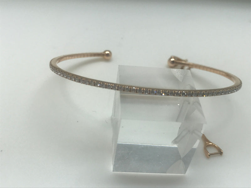 BRACELET BANGLE GATSBY OR ROSE ET DIAMANTS DE MESSIKA