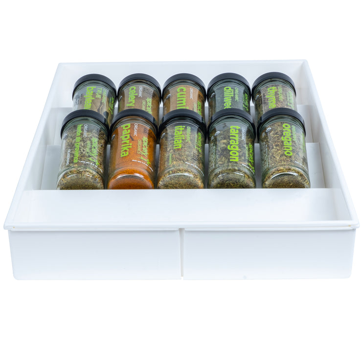 White Expandable Drawer Organizer - Spices