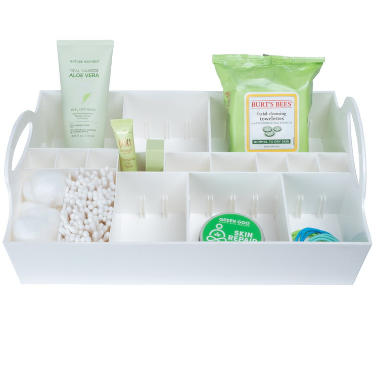 White Adjustable Cosmetic Organizer