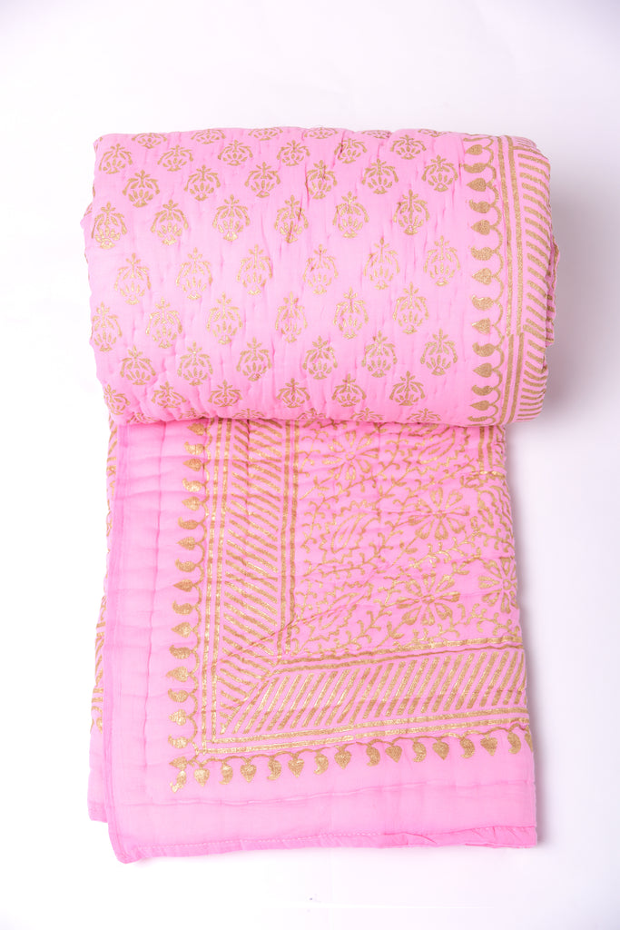 Gold Printed Cotton Quilt - Baby Pink
