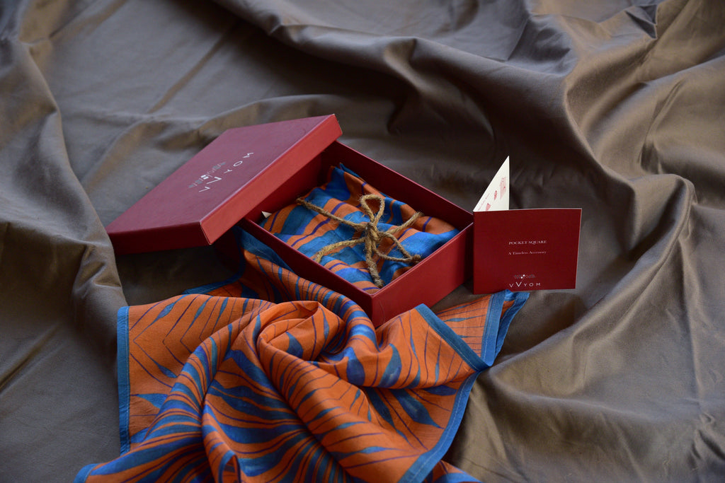 Orange and turquoise Printed Pure Silk Scarf and Pocket Square Gift Set