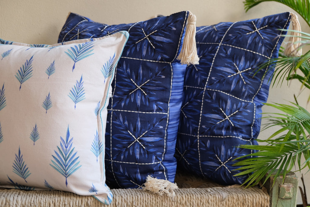 Colour Story Deep Blue Silk and Canvas Cushion Gift Cover Set of 3