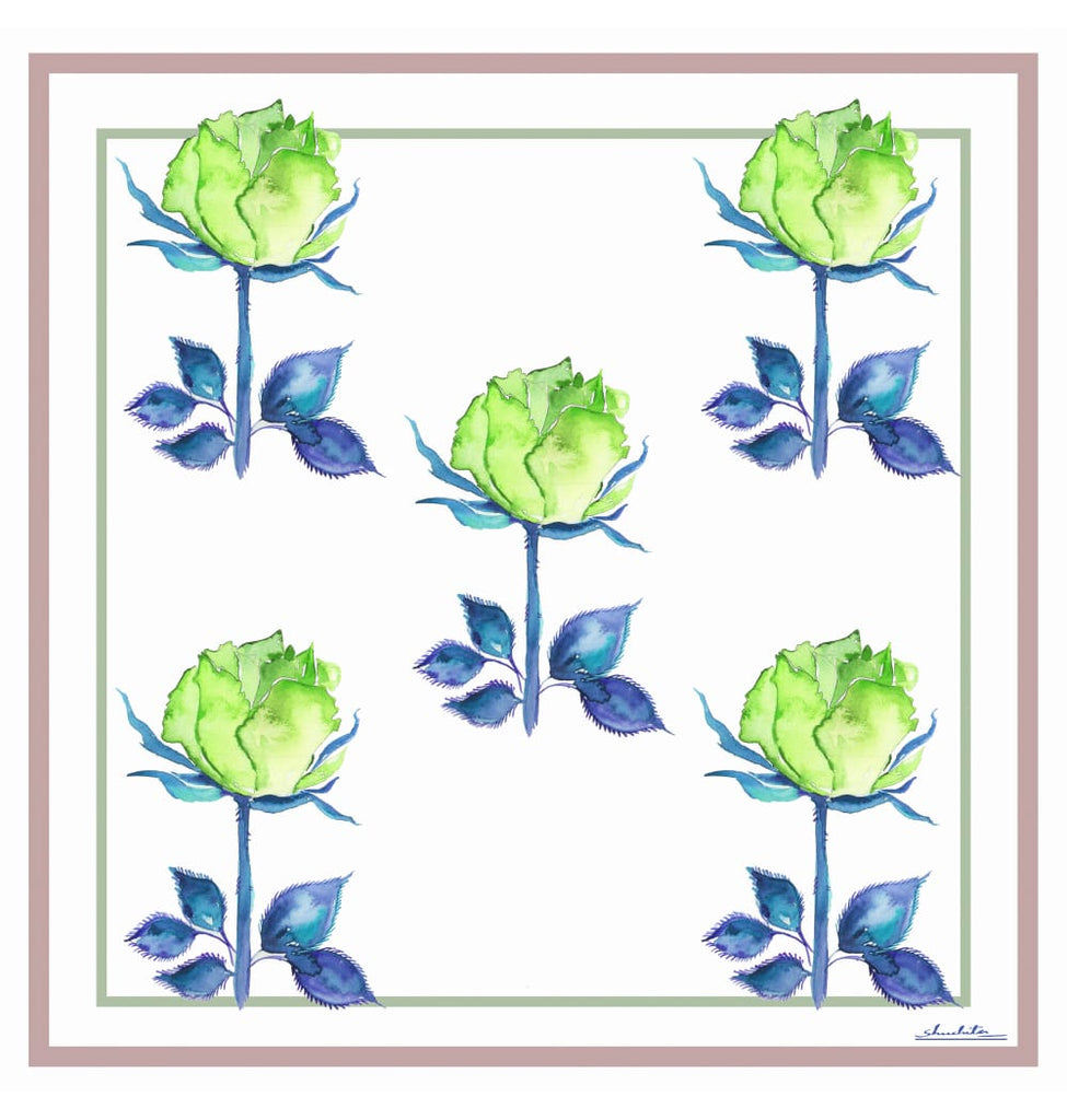 Pure Silk Scarf_Floral 105 Green Rose