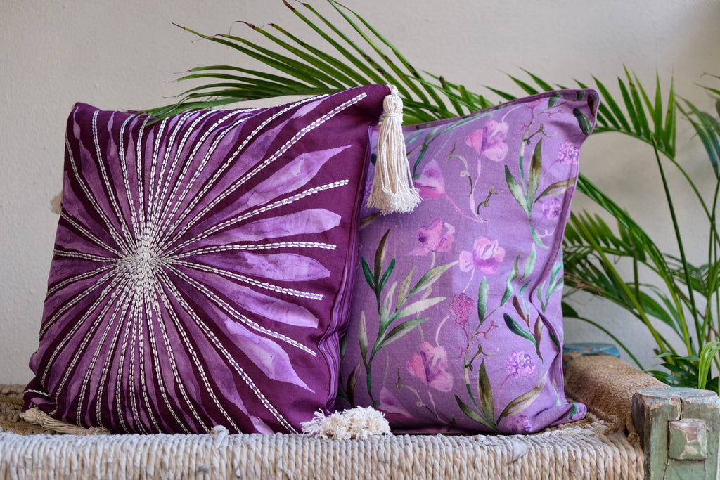 Colour Story Burgundy Silk and Canvas Cushion Gift Cover Set of 3
