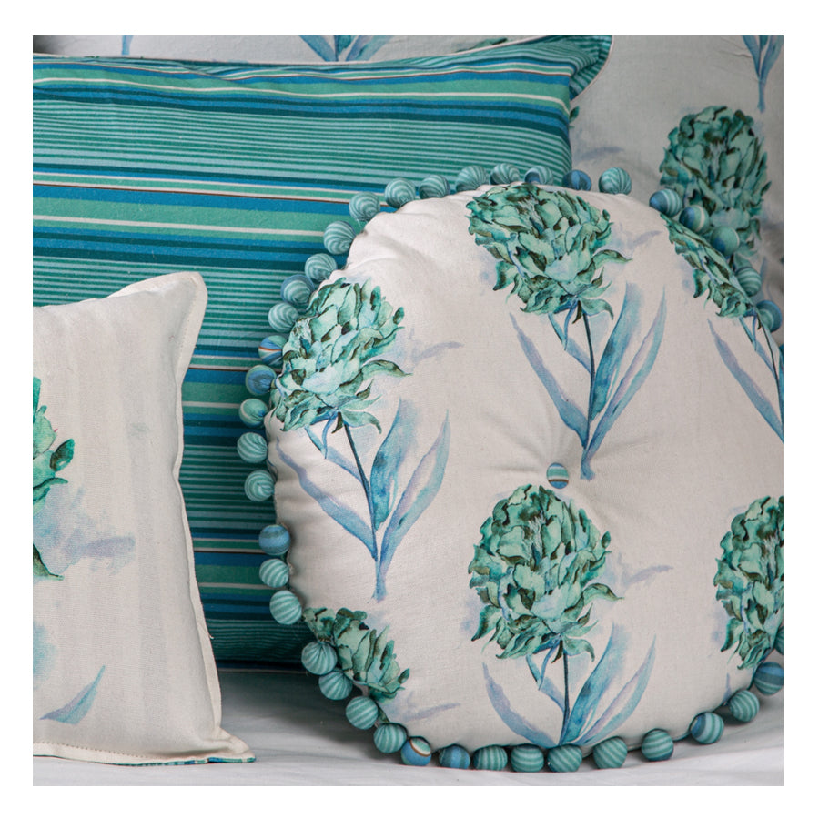 Aqua and White Round Cushion Filled Decorative