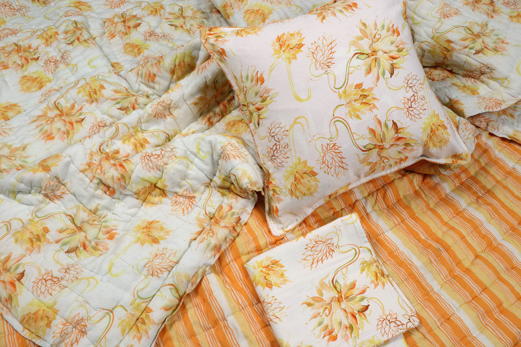 Yellow and White 120 Floral Printed 3 PC Set | Jaipuri Razai with 2 Cushion Covers