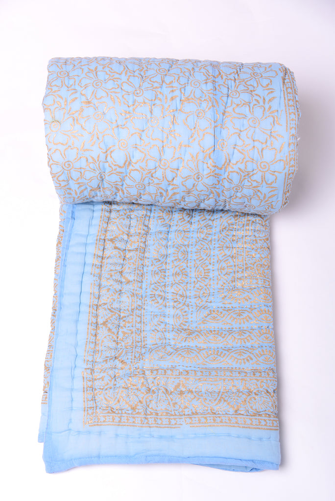 Gold Printed Cotton Quilt - Powder Blue