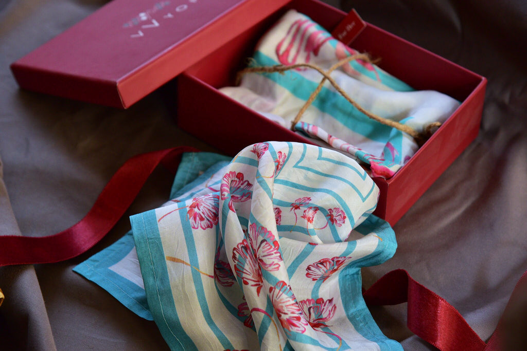 Aqua and red floral Printed Pure Silk Scarf and Pocket Square Gift Set