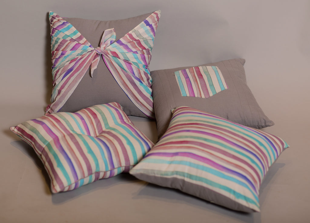 Set of 4 Cushions Set Grey with Multi coloured stripes
