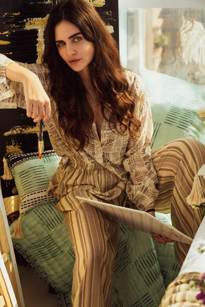 DE-STRESS print oversized shirt and pant set vVyom x deme | Limited Edition Loungewear