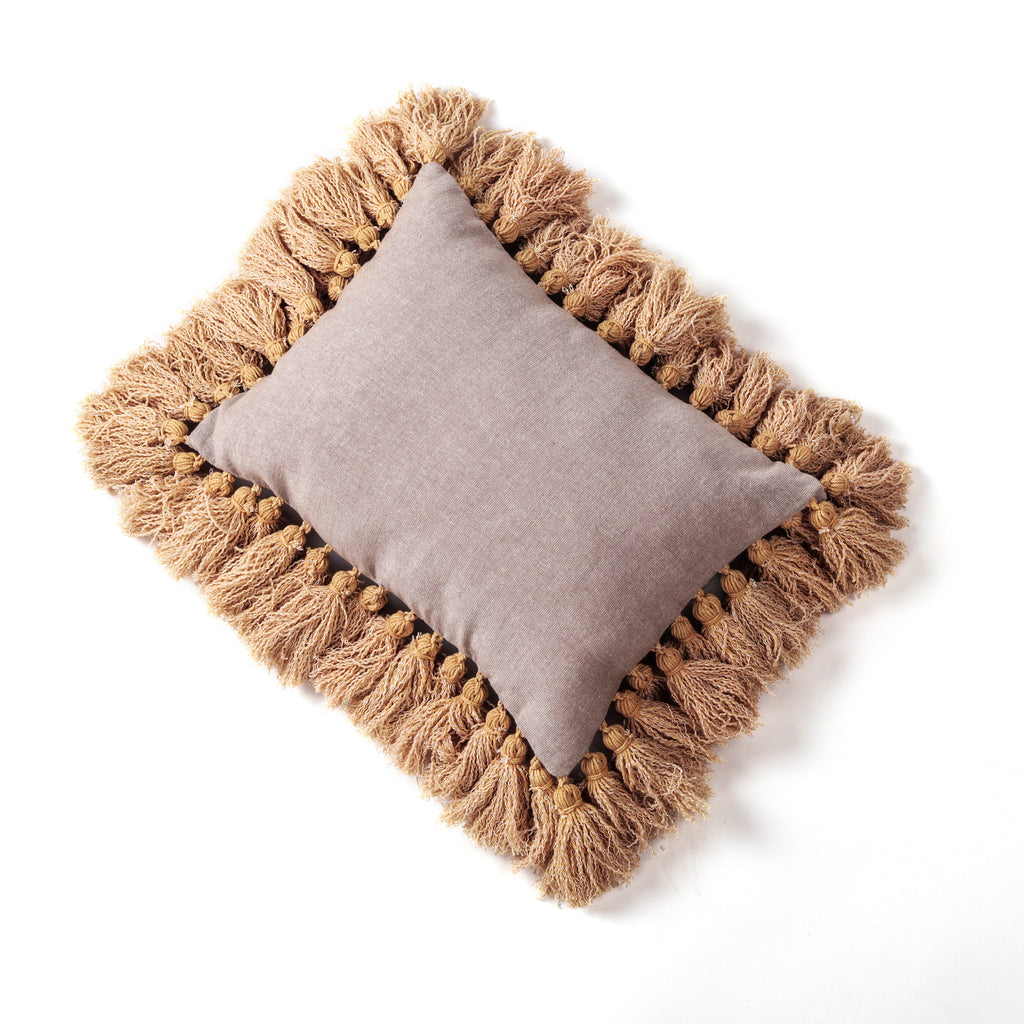 "Earthy Accent Cushion Yellow Tassel Natural 12""x16"""
