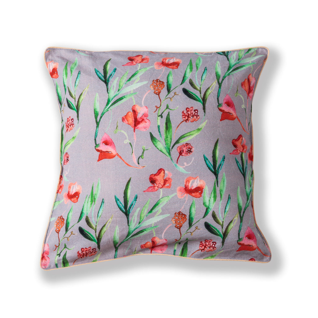 "Floral Dreams Cushion Cover-Red Grey-109 16""x16"""