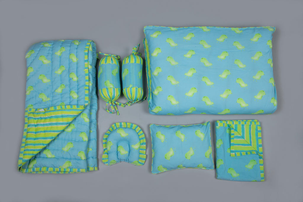 Baby 7 pc Bedding Set 100% Cotton Little Bird Blue Green