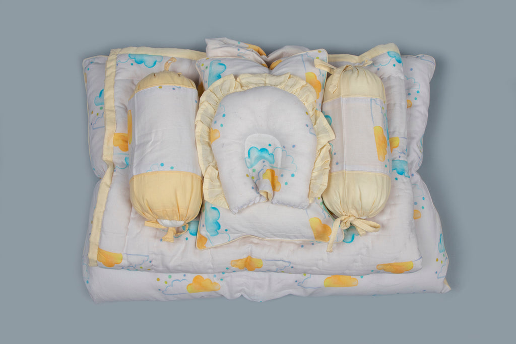 Baby 7 pc Bedding Set 100% Cotton Clouds Yellow White