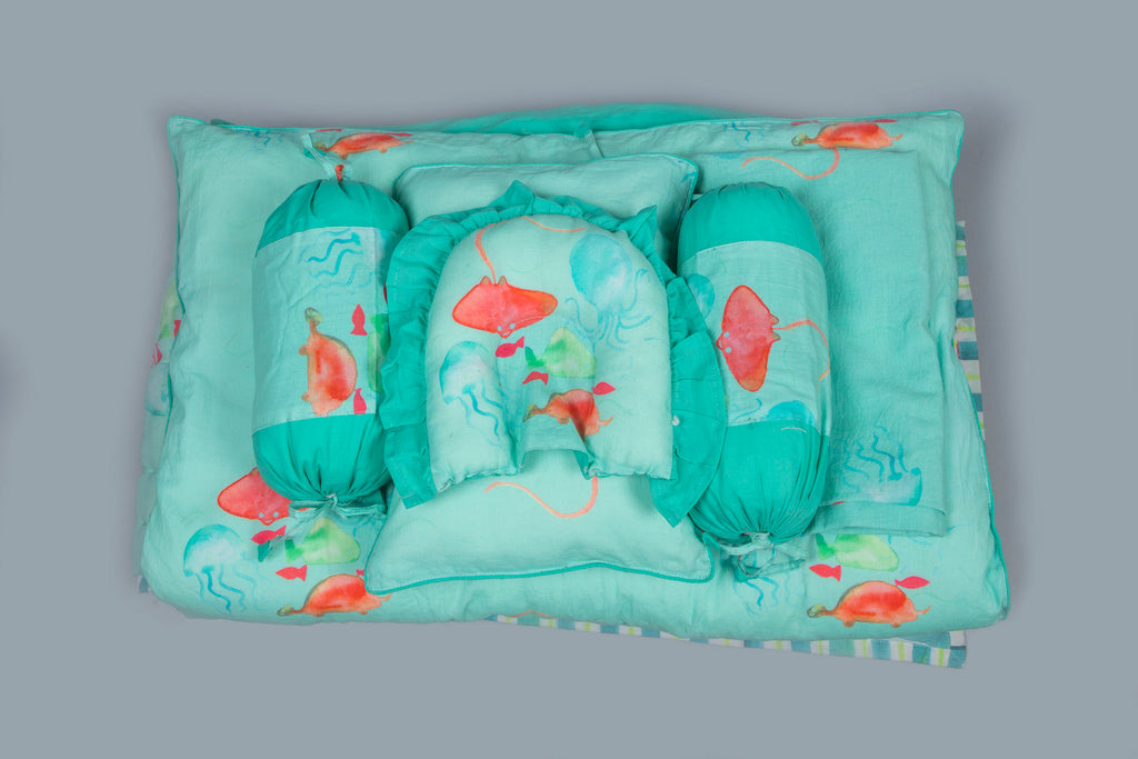 Baby 7 pc Bedding Set 100% Cotton Underwater Aqua