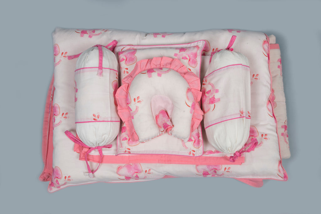 Baby 7 pc Bedding Set 100% Cotton Baby Elephant Pink