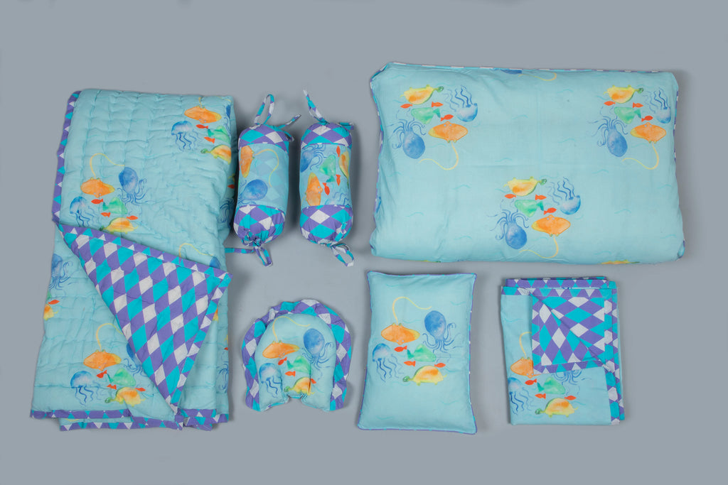 Baby 7 pc Bedding Set 100% Cotton Underwater Blue
