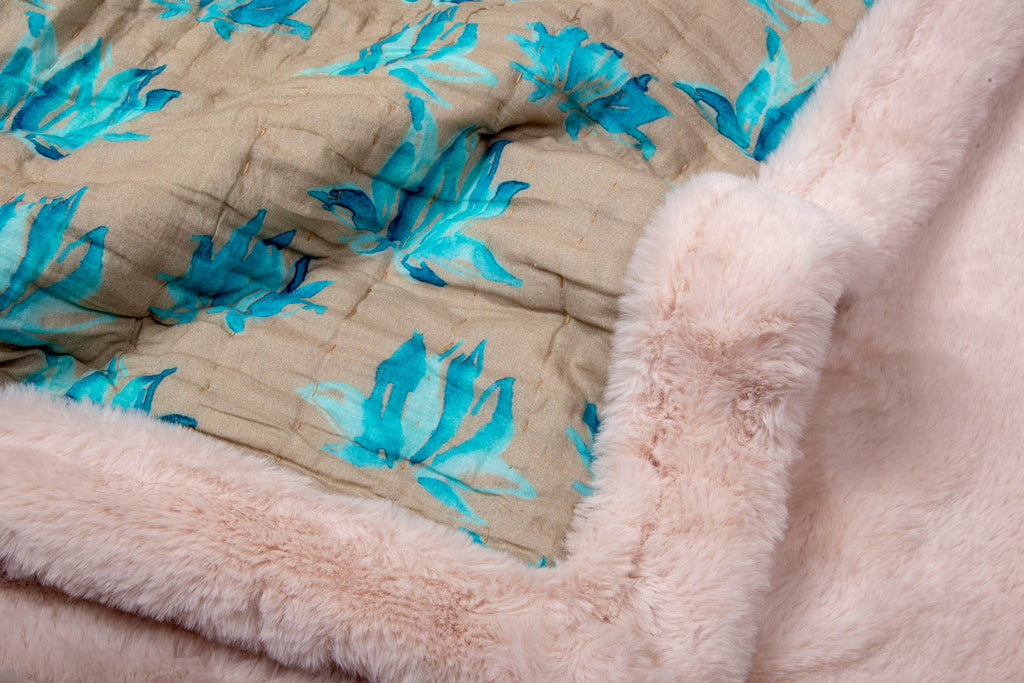 Weighted Faux Fur Quilt 119 Turqoise Mud