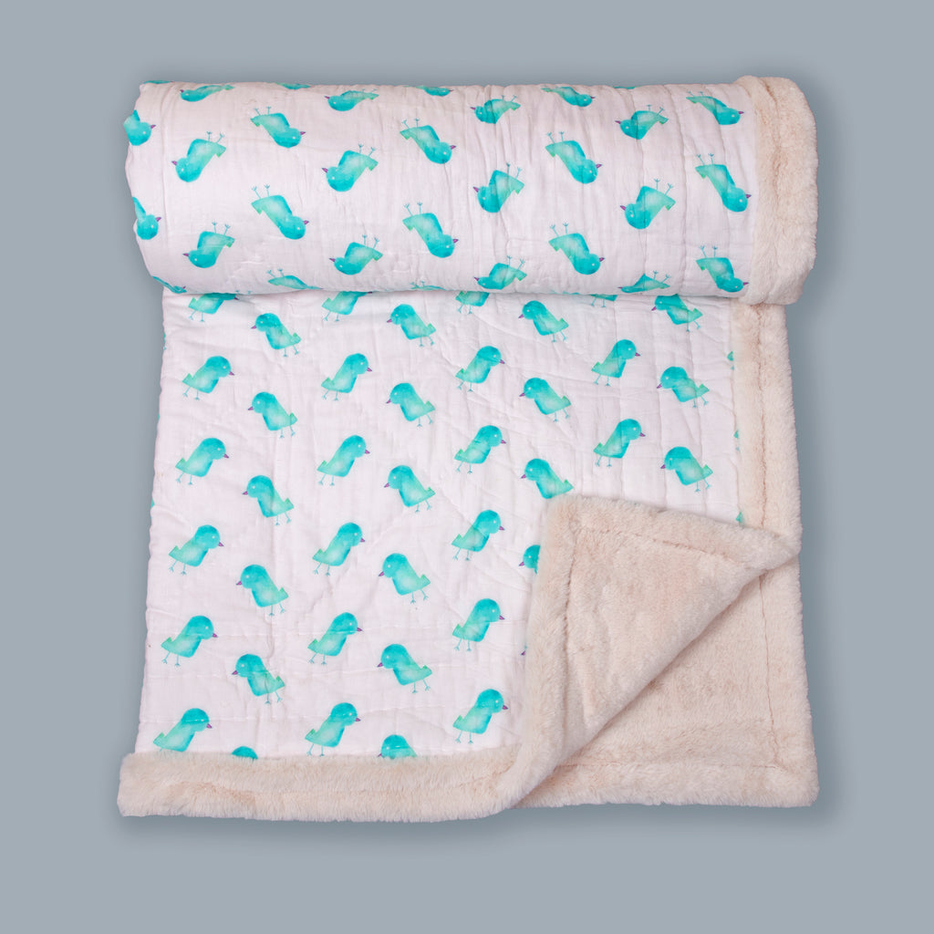 White And Aqua Baby Bird Printed Two In One Fur Quilt