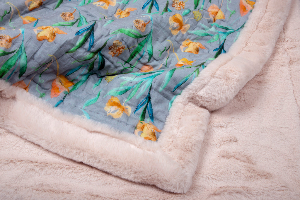 Weighted Faux Fur Quilt 109 Grey Yellow