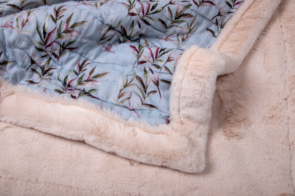 Weighted Faux Fur Quilt 111 Grey