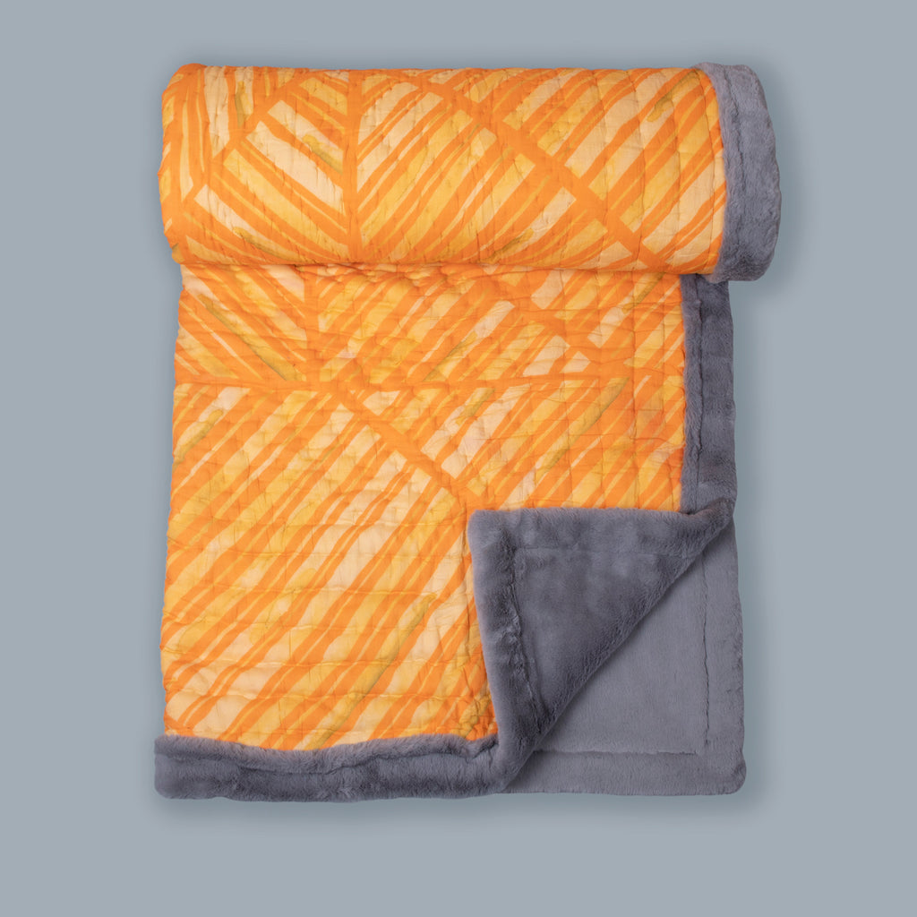 Orange Colour Story Printed Two In One Fur Quilt