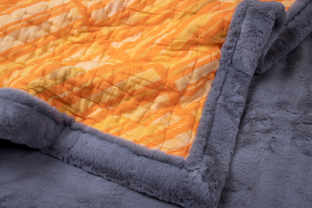 Weighted Faux Fur Quilt Colour Story Orange