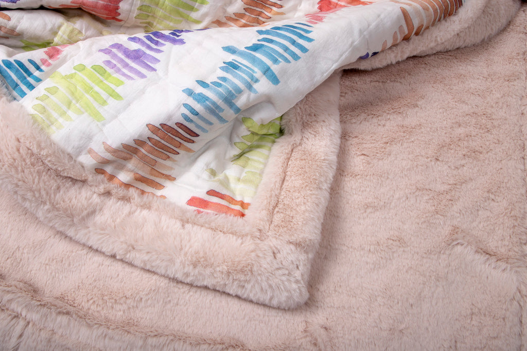 Weighted Faux Fur Quilt Colour Story 306 MULTI