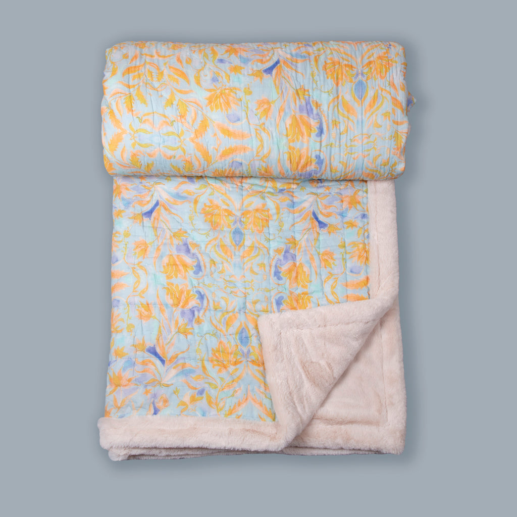 Sky Blue And Yellow Floral Printed Two In One Fur Quilt