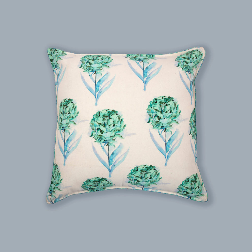 Aqua and White 121 Cushion Cover