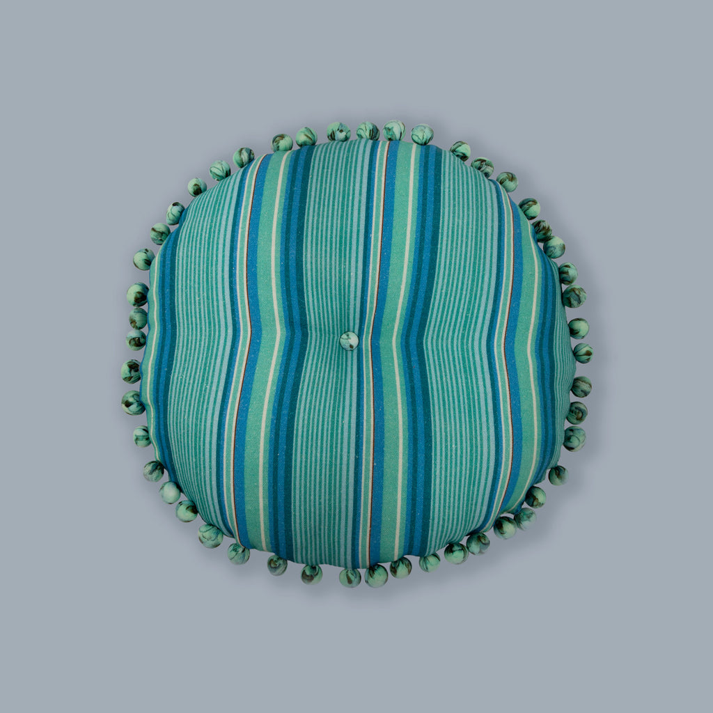 Aqua Stripes Round Cushion Filled Decorative