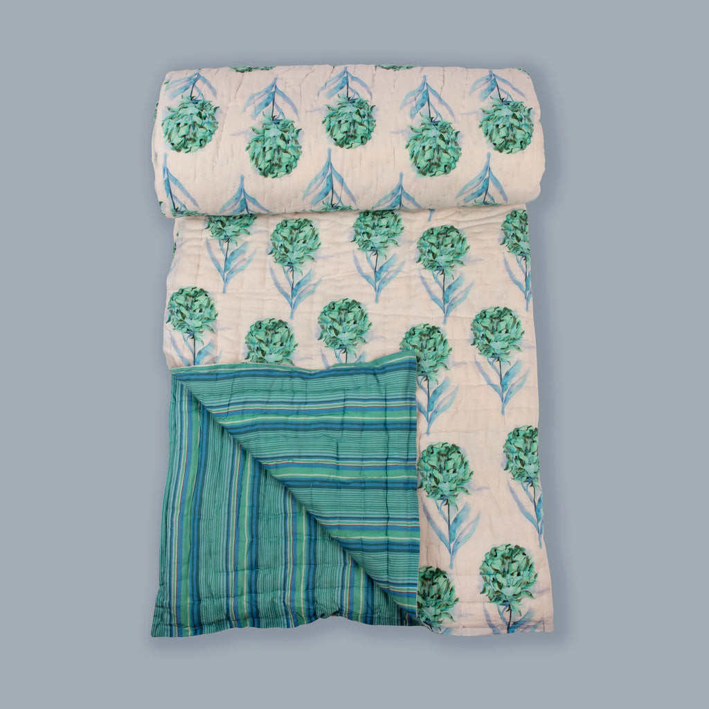 Cotton Quilt 121 Aqua Double Sided