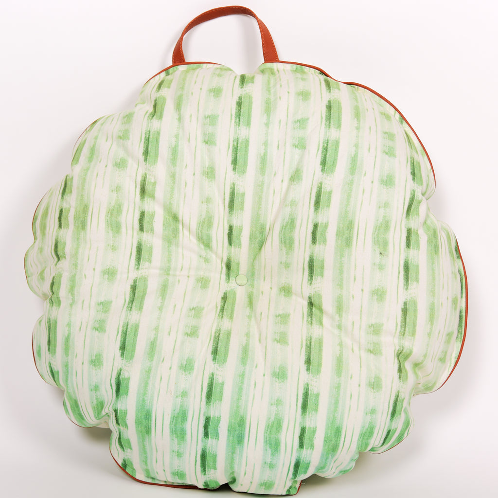 Multi purpose Floor Cushion/ Stripes of Lines 102 Green/ Round