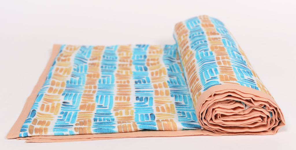 Duvet/Dohar/Stripes of line/307 Ochre Blue