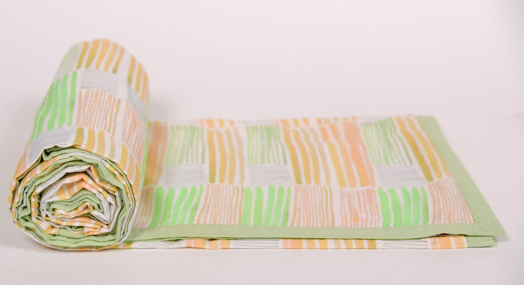 Duvet/Dohar/Stripes of line/305 yellow green