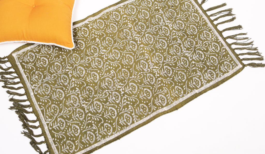 Dhurrie Rug - Hand Block printed in Olive Green 2ftx3ft