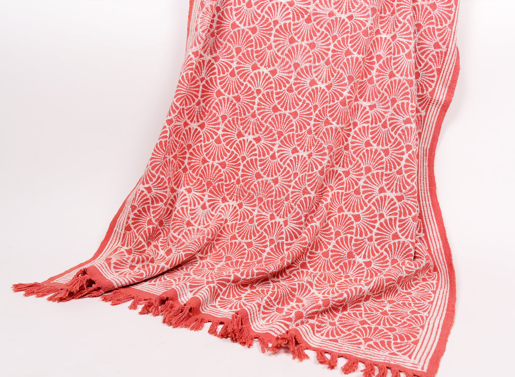Hand Printed Throw in Fresh Peach 104 - 100% Cotton