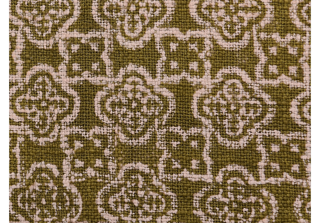Hand Printed Throw in Earthy Olive 103 - 100% Cotton
