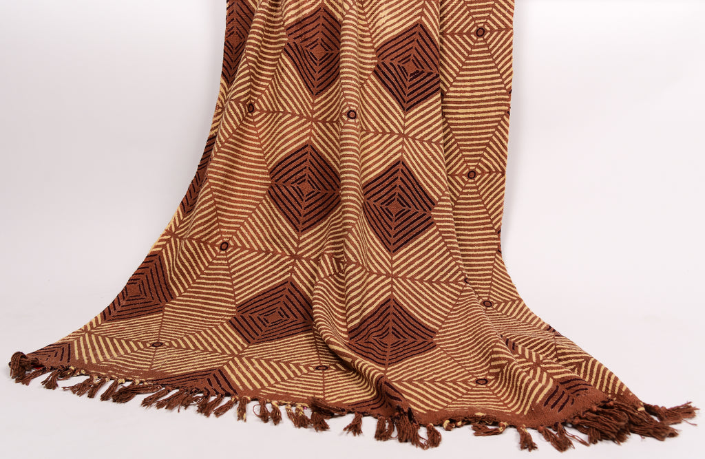 Hand Printed Throw in earthy brown 101 - 100% Cotton