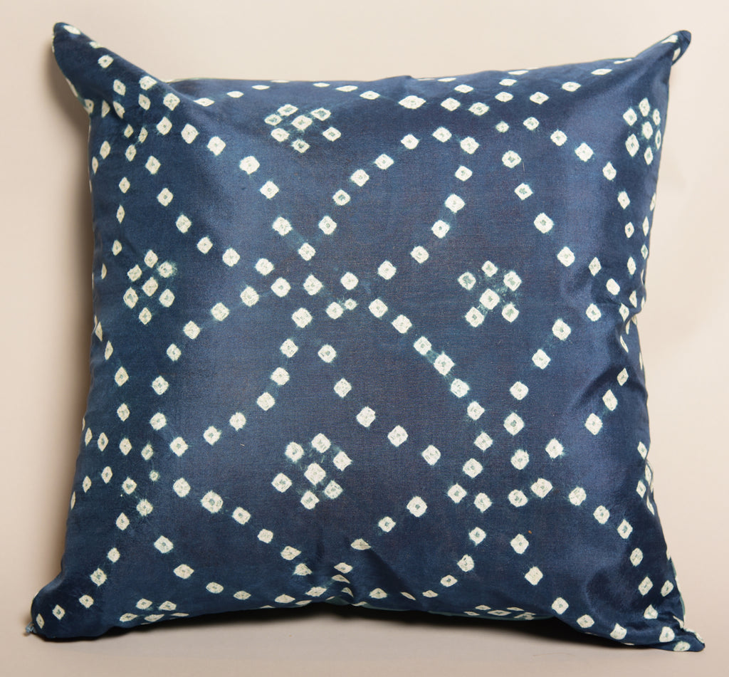 "16""X16"" Pure Silk Bandhani Cushion Double sided-Blue Gray"