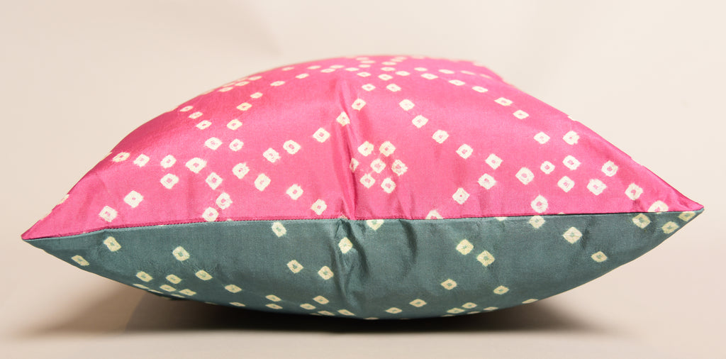 "16""X16"" Pure Silk Bandhani Cushion Double Sided-Pink Gray"