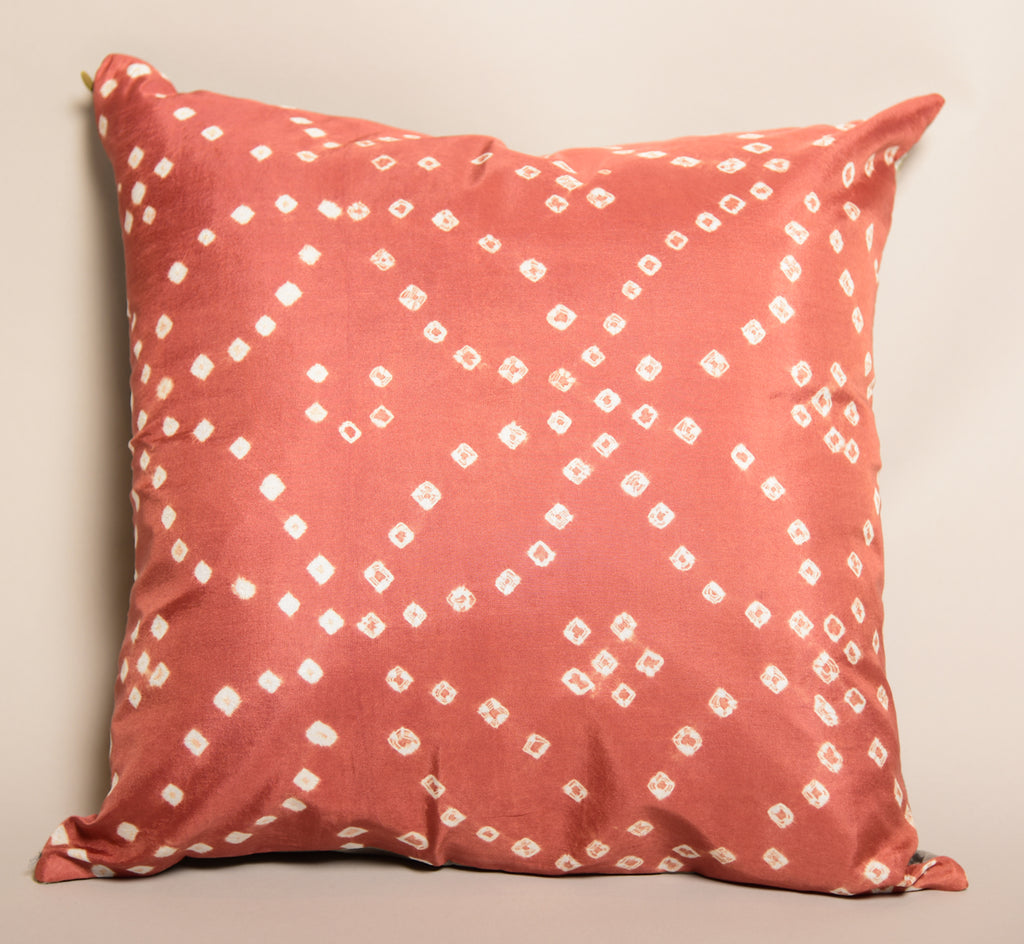 "16""X16"" Pure Silk Bandhani Cushion Double Sided-Orange Gray"