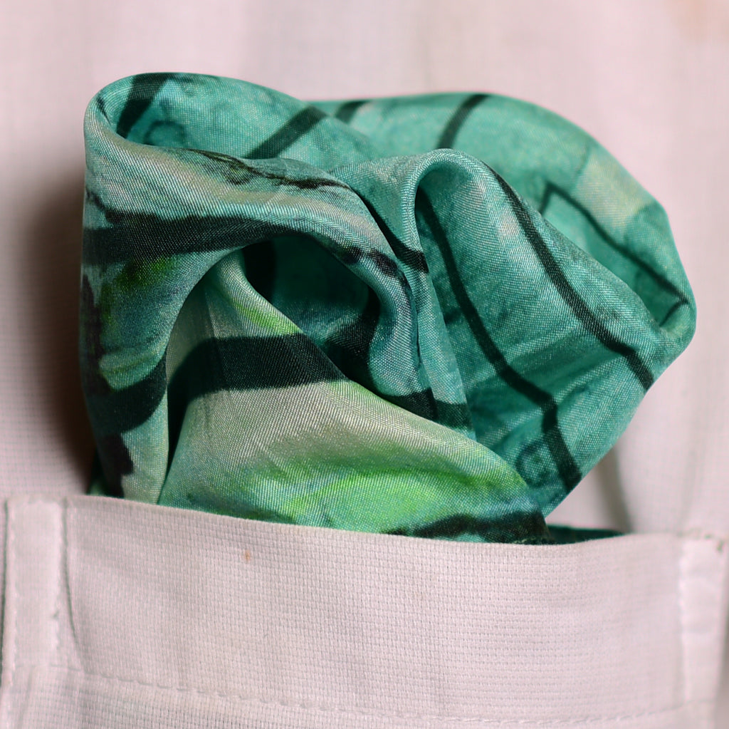 Pure Silk Pocket Square-Colour Theory-Aqua Green