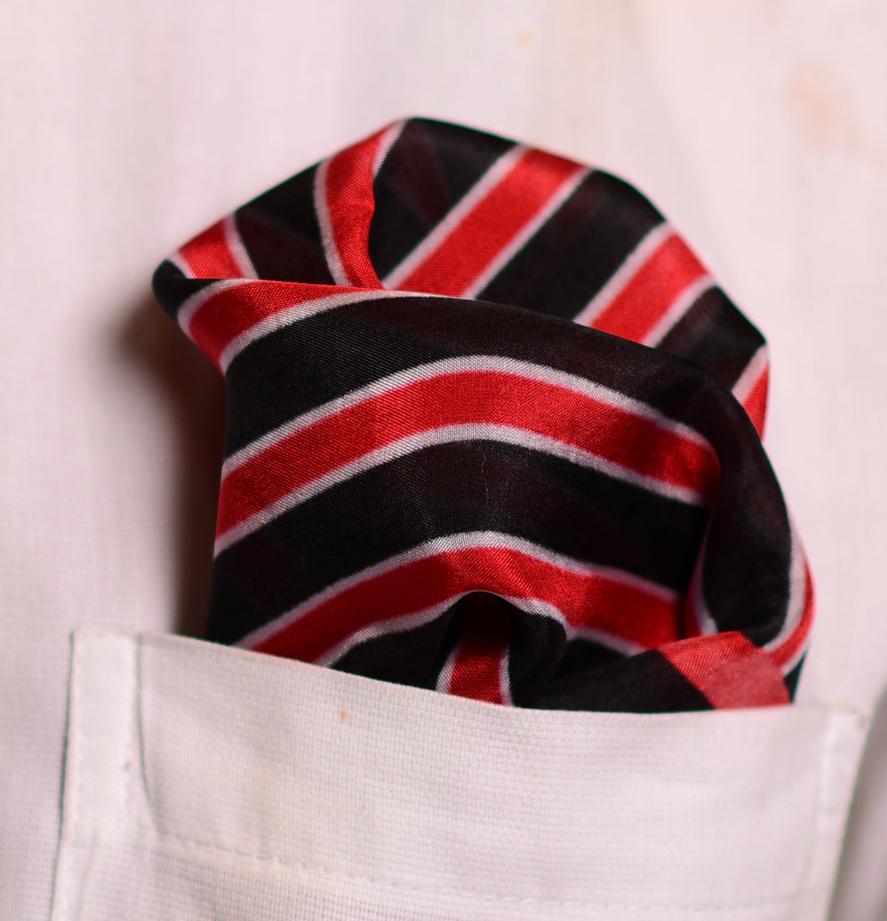 Pure Silk Pocket Square-Colour Theory-Red Black