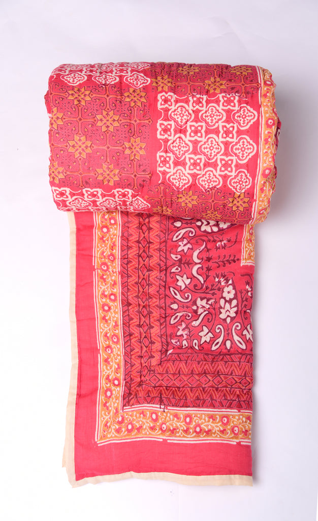Hand Block Printed Jaipur Quilt-Red