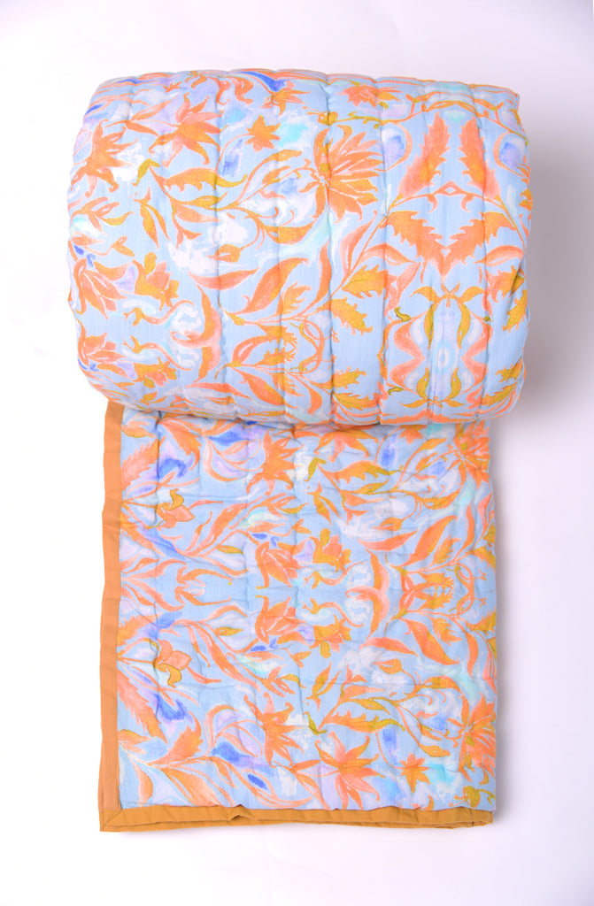 Floral Dreams Cotton Quilts Sky Orange 108