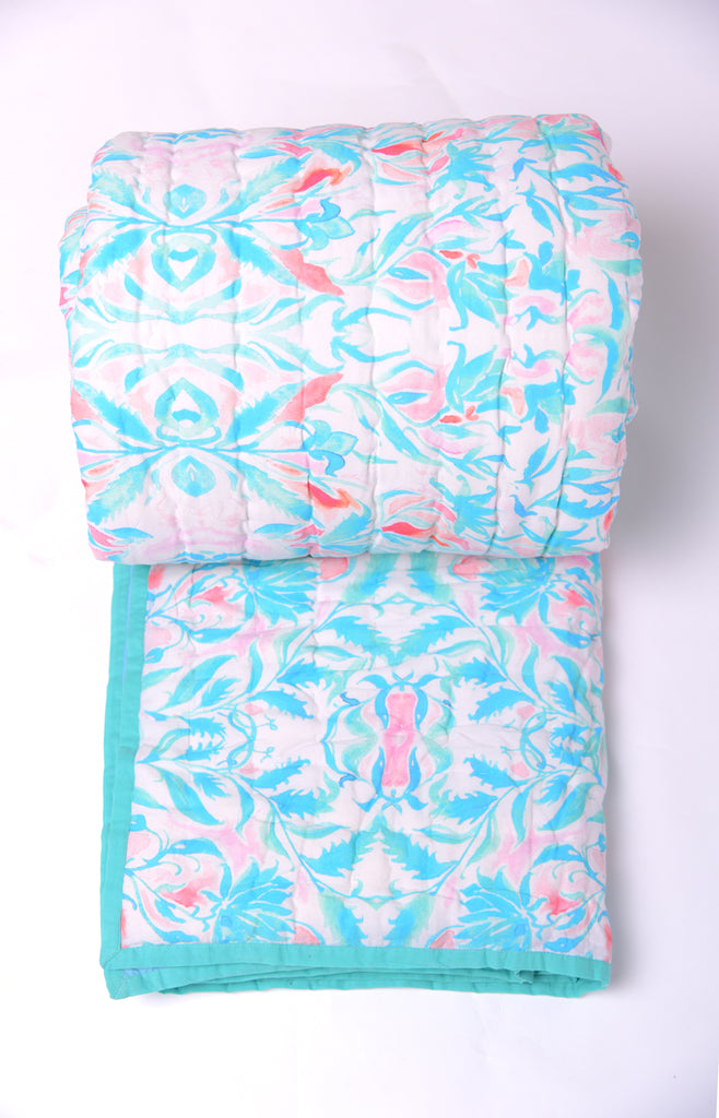 Floral Dreams Cotton Quilt 108 Aqua