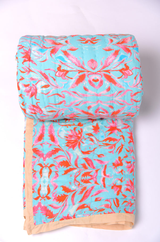 Floral Dreams Cotton Quilt Aqua Red 108