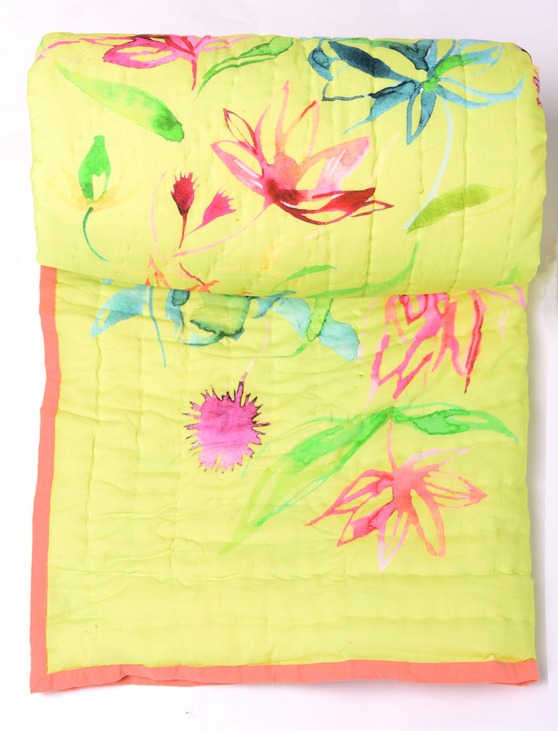 Floral Dreams Cotton Quilt 103 Lime